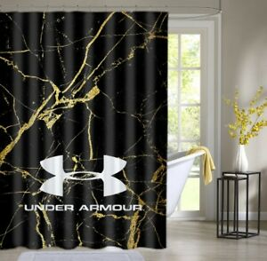 Image Is Loading Under Armour Gold Marble Black Shower Curtain Waterproof