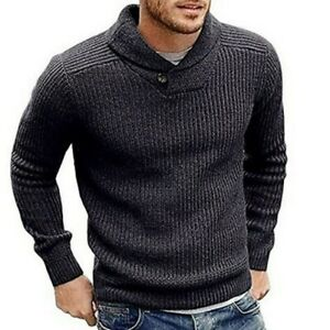 Lunyu Mens Knitted Pullover Sweaters Crewneck Slim Fit Long Sleeve Patchwork Blouse top