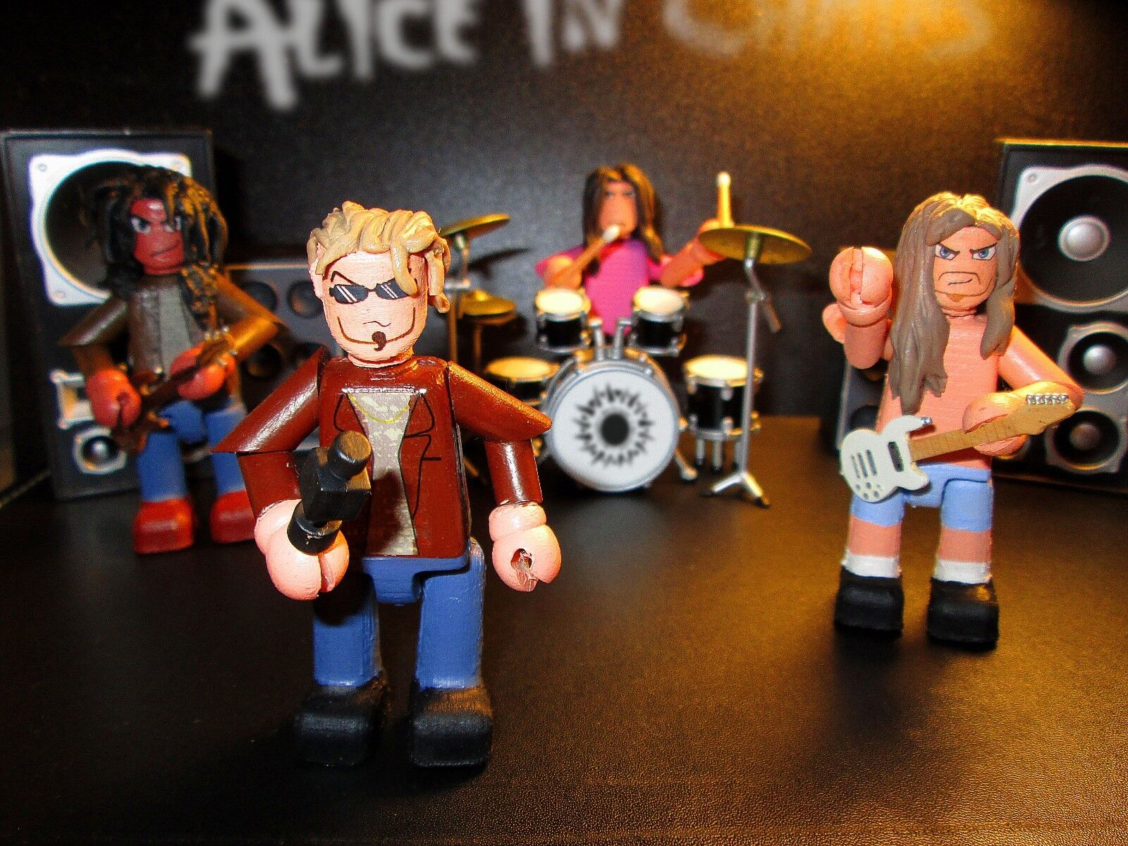 Alice in Chains 3 inch minifigure set 4 x handmade OOAK jointed figures