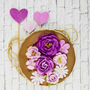 VALENTINA-CIANA-8-Paper-Flowers-amp-3-Hearts-Stamen-Centre-25-60mm-PRIMA-2017