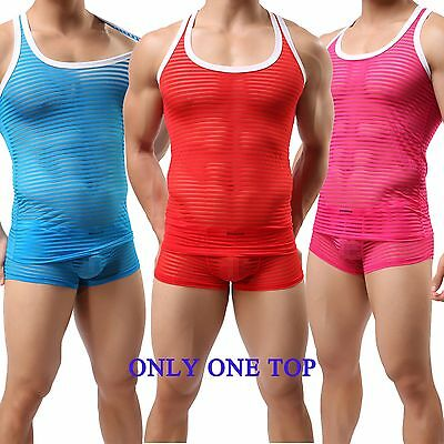 Brand Men's Sexy Striped Sheer Tank Top Confortable Vest Undershirt Top M L XL