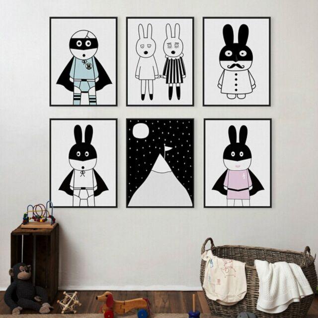 Poster Painting Wall Art Minimalist Animals Home Decor Black White Cute Pirate