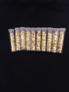 Nouveau Lot De Dix (10) Feuille d'Or Flocons alors détachés Ferraille or jaune paillettes