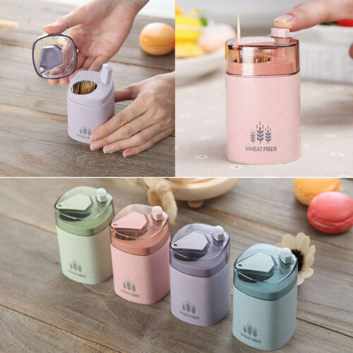 Fashion Wheat Straw Automatic Toothpick Holder Container Dispenser Decor Charm