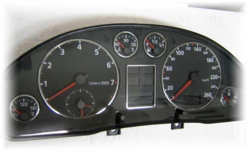 Edelstahl poliert 7 teilig D Audi A4 B5 Chrom Tachoringe