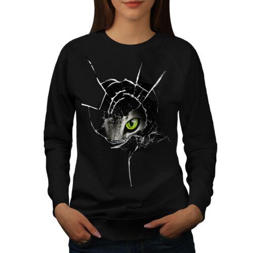 Animal shirt Pull Pullover de Sweat animal Glass Noir en colère femmes Jumper Wellcoda chat qpxPnzxd6w