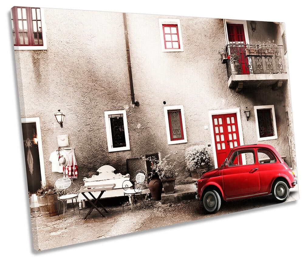 rot Car Car Car Italy Vintage Picture SINGLE CANVAS WALL ART Print edf684
