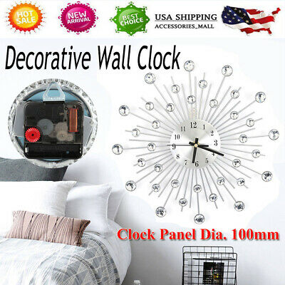 3D Fashion Large European Wall Clock Decorative Living Room Modern Diamonds Iron
