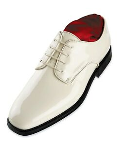New Mens 16m Size in Shoes Ivory 15w Oxford Toe sintetica vernice Tuxedo Square 6gwgZHqa