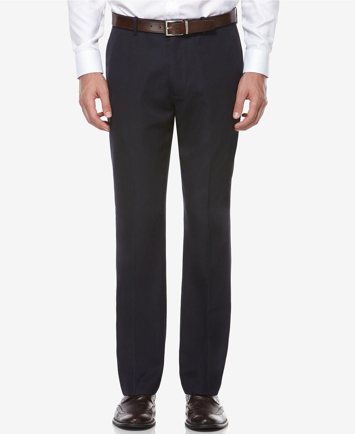 PERRY ELLIS PORTFOLIO men blueE FIT FLAT FRONT SOLID DRESS PANTS 34 W 32 L