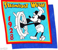 8.5 Vintage Disney Mickey 1928 Steamboat Willie Fabric Applique Iron On