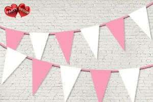 Baby-Pink-Coloured-Bunting-Banner-15-Flags-12ft-Baby-shower-Boy-by-PARTY-DECOR