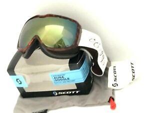 95-Scott-Aura-Ski-Goggles-Womens-Snowboard-NWT-Groove-Brown-Yellow-Chrome-Lens
