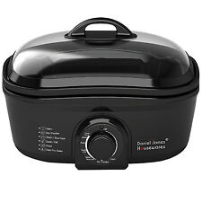 BLACK MULTI COOKER OVEN SLOW COOK FONDUE STEAMER BOIL ROASTER DEEP POT FAT FRYER