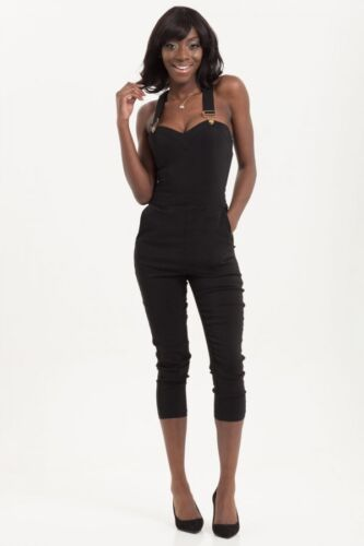 VOODOO VIXEN CONNIE CAPRI FITTED OVERALL DUNGAREE JUMPSUIT S M L XL XXL BLACK