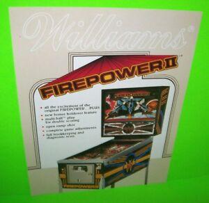 Firepower-II-Pinball-FLYER-Original-Williams-1983-Promo-Game-Artwork-Sheet-NOS
