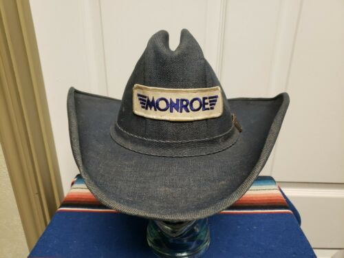 Vtg Denim Men Western Hat Large Blue Denim Hat Ban