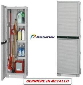 Dettagli su Armadietto box armadio per esterno mobiletto in resina  portascope balcone L.50cm