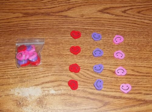 Fun for any party! Twelve Mini Valentine Heart Happy Face Erasers