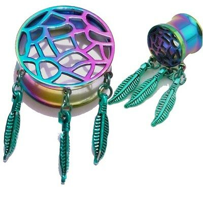 Pair of Titanium Dreamcatcher Flesh Ear Tunnels Plugs Gauges Earrings Saddle Fit