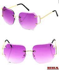 CLASSIC VINTAGE RETRO Style SUN GLASSES Gold Rimless Frame Diamond Cut Pink Lens