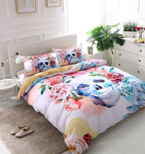 3D Bedding Set Flower With Skeleton Print Skull Duvet//Quilt Cover Pillowcase 3pc