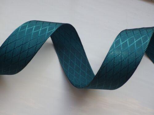 Teal rhombus ribbon free postage 16mm in 2m or 5m lengths