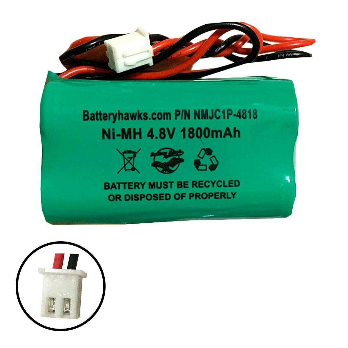 Battery Hawks 4.8v 1800mah Ni-MH AA Battery Pack Replacement