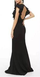 Xtaren-Black-Ruffle-Sleeve-Cut-Out-Back-Gown-Long-Maxi-Full-Length-Dress-S-NEW