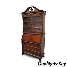 "87"" Antique Empire Federal Style Mahogany 2 Part Secretary Desk Bookcase Cabinet"