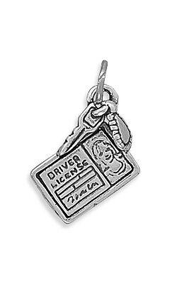 "SILVER /""DRIVER/'S LICENSE W// KEY/"" CHARM  W// SPLIT RING"