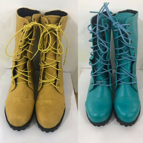 Womens Low Heel Flat Ankle Martin Boots Combat Boot Military Lace Up Motor Shoes