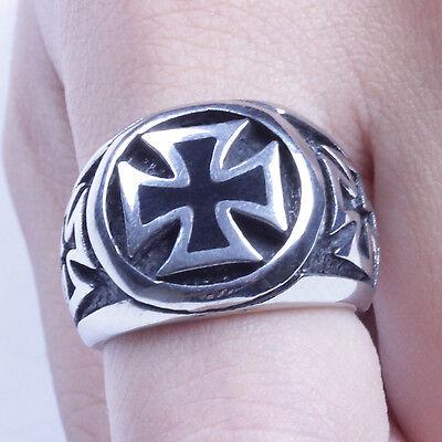 Men's Silver Stainless Steel Celtic Cross Biker Ring Size 7-14 SR81