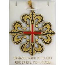 Templar Knight Damascene Caltrava Cross Pendant by Marto of Toledo Spain 4222