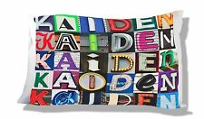 Personalized Pillowcase featuring KAIDEN in photo of sign letters