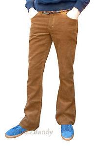 Mens Beige light brown bootcut cords vtg jeans retro flares mod