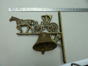 Vintage Heavy Wall Mount Cast Iron Dinner Bell With Horse