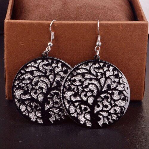 Para mujer 3 Color Círculo Oval Árbol de la vida Gota Colgante Earrings Joyas Regalo UK