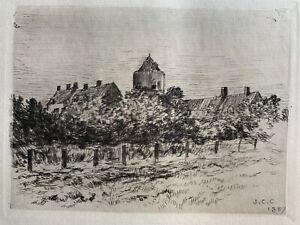 Jean charles Cazin eau forte etching engraving la tour du renard