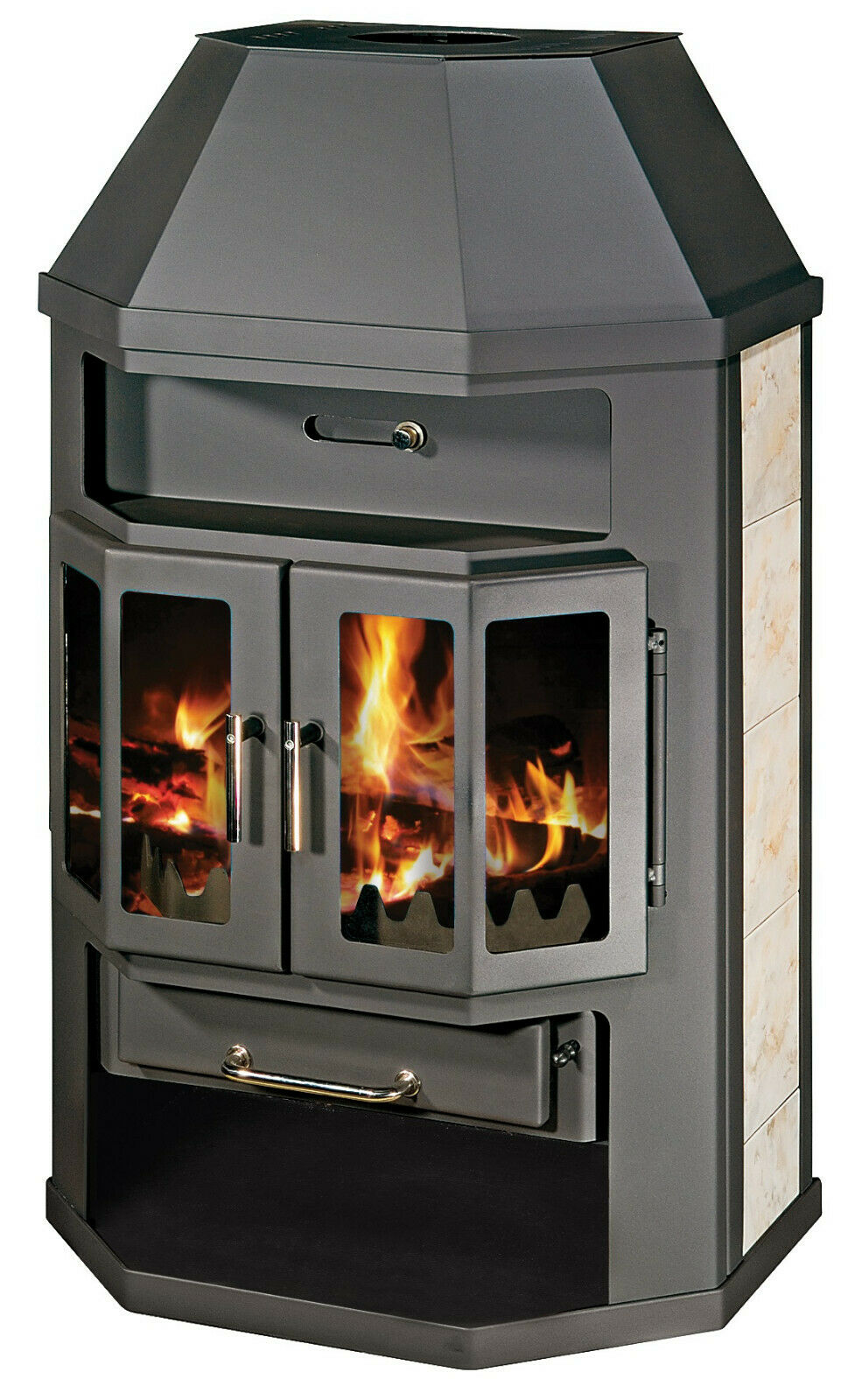 Wood Burning Stove Multi Fuel Log Burner Integral Boiler 18 kW Thermal Output