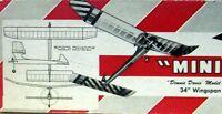 Vintage Mini Hogan 34 Davis Nostalgia Era 1/2a Free Flight Model Airplane Plan