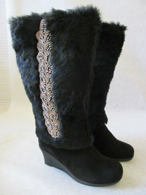 JOAN BOYCE BLACK SEQUIN EMBELLISHED FAUX FUR LINING BOOTS SIZE 8 M - NEW W BOX