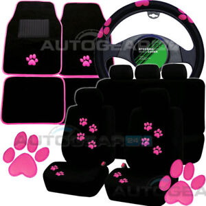 Black Pink Paw Print Car Seat Covers.Set of 4 Car Mats.Car Steering