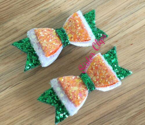 """2 Ireland green white orange glitter 2.5/"""" bow clips Irish dancing"""