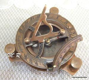 3''-Brass-Sundial-Compass-Maritime-Gifted-Sundial-Nautical-Brass-Pocket-Compass