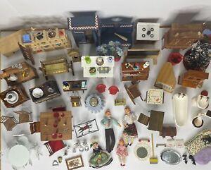 Huge Vintage Dollhouse Miniature Furniture & Accessory Lot 1:12 W/ Boxes CLEAN