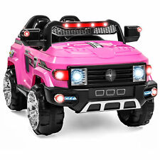 12V MP3 Kids Ride-On Truck Car RC Remote Control, LED Lights AUX and Music-Pink