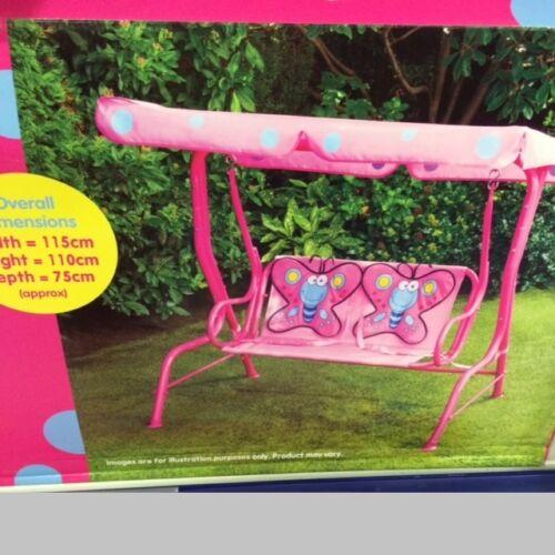 Garden Outdoor Patio Metal Swing Chair Kids Butterfly 2 Seater Hammock Pink