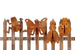 Zauntiere-Edelrost-4-Modelle-Frosch-Schmetterling-Biene-Marienkaefer