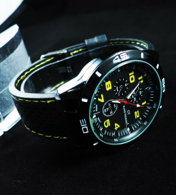 Fashion Racing Style Watch Quartz Men Boy Teens Wrist Watch Watches - Yellow